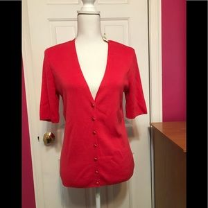NWT TALBOTS Coral Red Button Down Cardigan